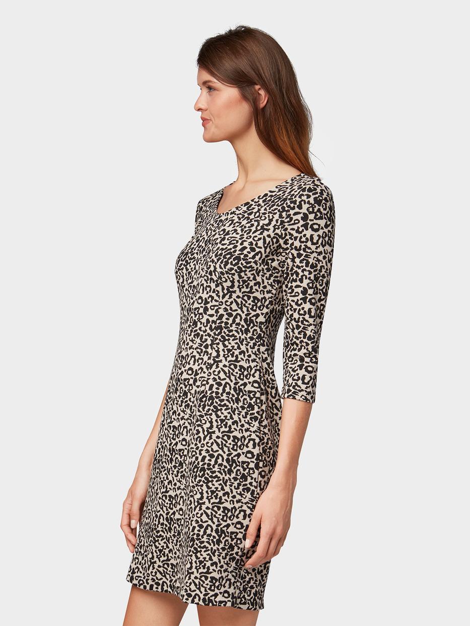 Платья Tom TailorПлатья<br>Платье с анималистичным принтом|длина рукавов ?|содержит эластан для идеальной посадки|прямой покрой|длина изделия для размера 38: 93 см